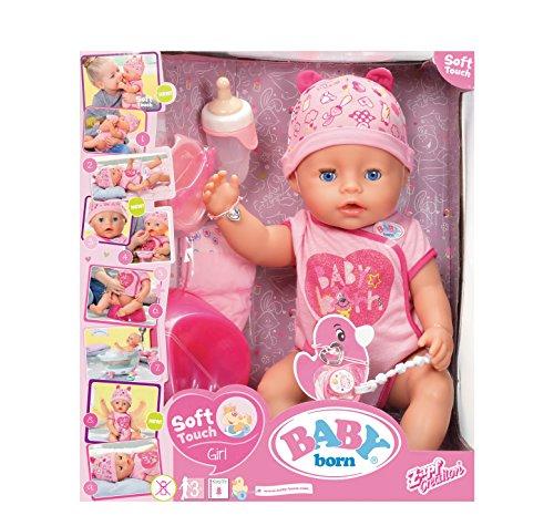 Baby Born 30878–Muñeca interactiva niña 9funciones y 11(incluye accesorios)