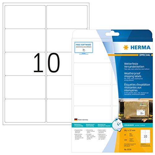 Herma 8330 Wetterfeste Versandetiketten (99,1 x 57 mm) weiß, 250 Folien-Etiketten, 25 Blatt DIN A4 Klebefolie matt, bedruckbar, stark selbstklebend