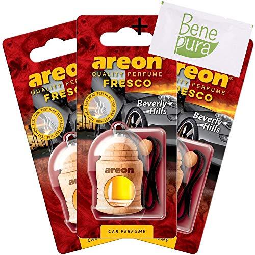 AREON Auto-Lufterfrischer Parfüm Fresco 4 ml - Beverly Hills - Hängende Flasche Diffusor mit Echtholzdeckel, langlebig, Set von 3 -