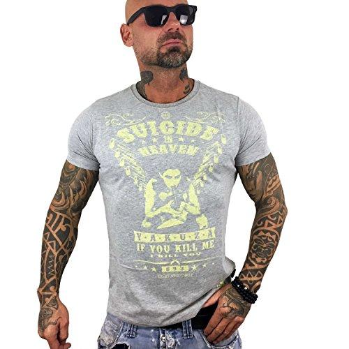 Yakuza Original Herren Suicide In Heaven T-Shirt Hellgrau Meliert