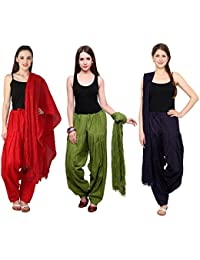 Mango People Products Combo Of Red, Mehandi, & Navy Blue Colour 3 Indian Readymade Patiala Salwar Dupatta Set.