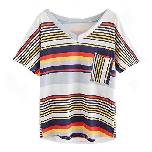 (Kobay Frühling heißer Mode Frauen Dame Sommer v-Ausschnitt Streifen Tops Kurzarm Bluse Tasche t-Shirt(L,Weiß))
