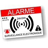 Autocollants dissuasifs Alarme - Surveillance électronique - Lot de 12 - Dimensions 7,4 x 5,2 cm