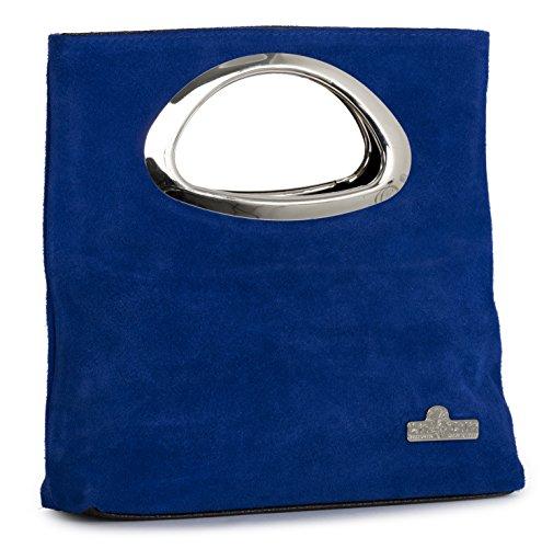BHBS Damen Reiner Wildleder Leder Top behandeln Abend Clutch Tasche 24 x 15 x 7 cm (B x H x T) Elektrisches Blau