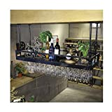 GWFVA Weinhalter Industrielle Wandmontage Loft Grid Metall Weinregal Regal, Weinflaschenregal Bar Regal Hängende Lagerung Regal für Restaurants, Bars, Täglichen Hause Höhenverstellbar 30~60 cm
