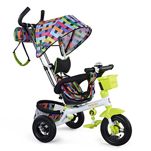 Fascol triciclo per bambini realizzato in metallo con asta di spinta rimovibile asta di tetto scorrevole baby Trike per 8 ai 72 mesi bambini verde
