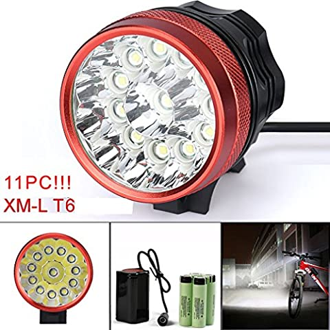 Bicycle Light, TopTen 11x T6 LED 11000 Lumens 3 Modes Ultra Bright Bike LED Headlamp Head Flashlight with Rechargeable Battery and