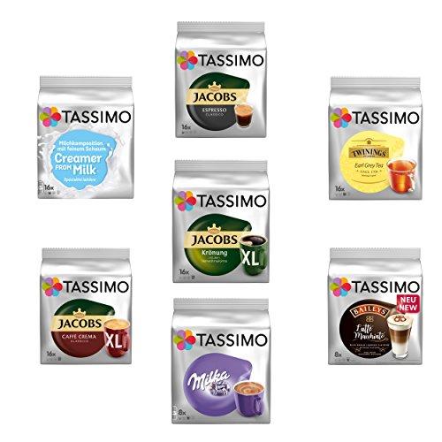 Tassimo Hamsterkauf Set, Notfall Vorrats Pack, Kaffeepads, 7 Sorten, Kaffee T-Disc
