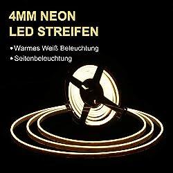 DANCRA LED Neon Lichtleiste, 10M 24V ultradünne 4mm weiche und einfach zu flexible Biegung, Super leichtes Gewicht, kein Blenden, Dekor für Badezimmer, Zähler, Spiegel, Fenster, Zeichen, Shop