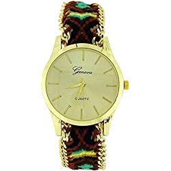 The Olivia Collection Ladies Pull Tie Closure BrownMulticolour Woven Strap Watch