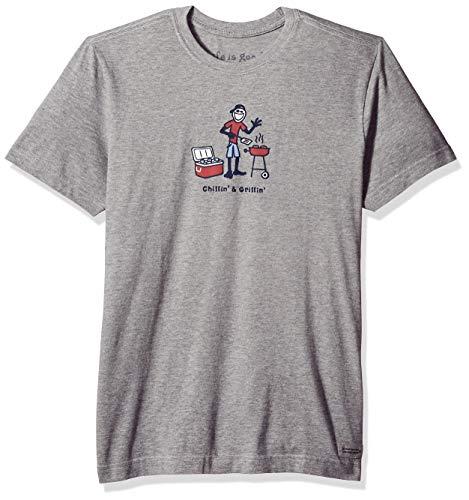 Life Is Good Herren T-Shirt Jake Grillin, Unisex-Erwachsene Herren, Men's Grill Jake Vintage Crusher Tee, Grau meliert, Small