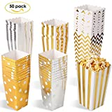 MVPower Popcorn Boxen 50 Pcs Party Candy Tüten Container Behälter Karton Gold Silber L/M/S (3er Größe Set)