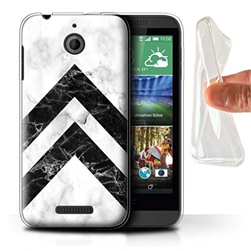 Stuff4® Gel TPU Hülle/Case für HTC Desire 510 / Monochrome Chevrons Muster/Geometrisches Marmor-Muster Kollektion (510 Für Chevron Case Desire Htc)