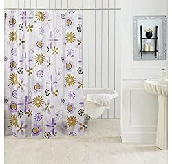 Ocean Dew Flora Shower Curtain - @home By Nilkamal, Yellow