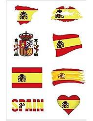 Día Nacional -Etiqueta Engomada del Tatuaje Temporal de España para el Cuerpo y la Cara
