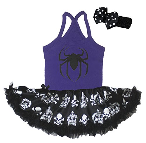 Kostüme Spider Tutu (Petitebelle Halloween Baby Dress Spider Halter Neck Bodysuit Crown Tutu Nb-24m (12-24)