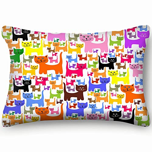 tuyi Colorful Cats Animals Wildlife Animal Animals Wildlife Animal Skin Cool Super Soft and Luxury Pillow Cases Covers Sofa Bed Throw Pillow Cover with Envelope Closure 20 * 30 inch -