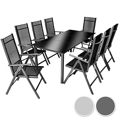 TecTake Aluminium Sitzgarnitur 8+1 Sitzgruppe Gartenmöbel Tisch & Stuhl-Set – Diverse Farben –