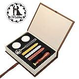 Mogoko Sigillo + 3*Ceralacca + Cera + Cera Stick Spoon Francobolli Vintage Kit per Lettera Personalizzata Timbri Personali IL MIGLIORE REGALO SET - Wedding