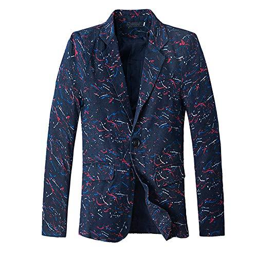 Herren Cardigan Coat,TWBB Drucken Jacke Suit Formal Passen Mit Knopf Outwear Mantel Pullover Persönlichkeit Lange Ärmel Hemd
