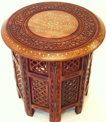 Stylla London Indien sculpté à la Main Oct Table en Bois avec Incrustation en cuivre et Laiton, Bois Dense, Marron, 15\