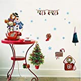 Asade Santa Claus Christmas Glass Transparent Film Removable Wall Stickers
