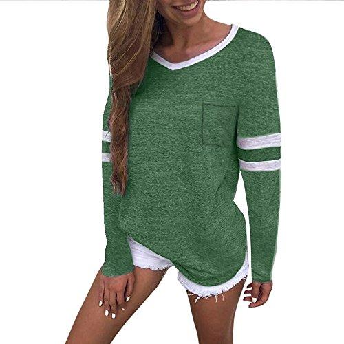 Vectry Damen Shirts Tops Blusenshirt MäDchen Polo Streetwear Sweatshirts Blusen Tuniken Kleider Westen KostüMe Herbst, Sommer Casual V-Ausschnitt Langarm Taschen Bluse Tops T-Shirt (L, Grün)