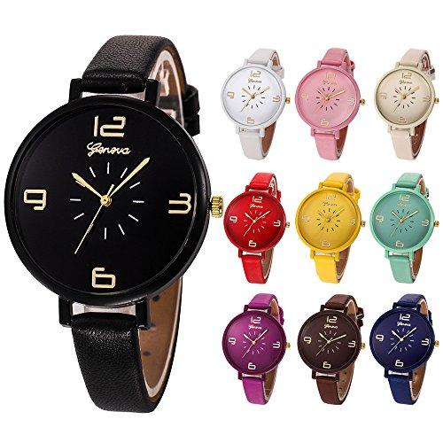 en Fashio Uhr,Quarz Uhr mit Lederarmband,Uhr mit Wasswerdicht, Zifferblatt,Analog Quarz Uhr Männer Uhr mit Hakenverschluss,Watch für Damen Herre,180 mm Länge (Gelb) ()