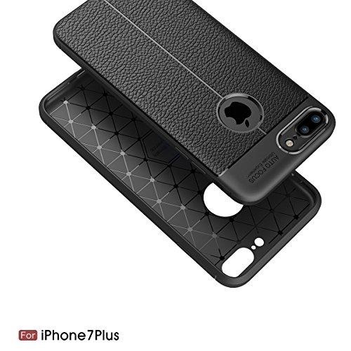 "MOONCASE iPhone 7 Plus Hülle, [Litchi Pattern] Fallschutz Anti-Scratch Schutzhülle Resilient TPU Armor Defender Tasche Case für iPhone 7 Plus 5.5"" Grau Rot"