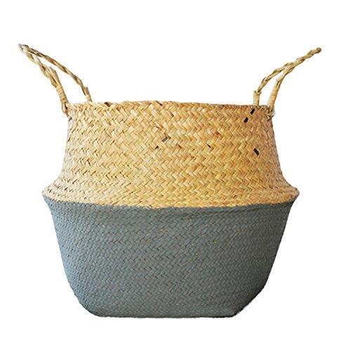 Für 4 Picknick-zeit-korb (handgeflochten aus natürlichem Seegras Korb Faltbarer Aufbewahrungskorb für schmutzige Kleidung Fruit Toys Nordic Style Pflanze Blumentöpfe, M)