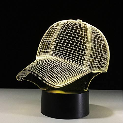 3D Led Nachttischlampen 7 Farben Ändern Junge Schlafzimmer Dekor Licht Hut Baseballmütze Sport Schreibtisch Tischlampe Baby Schlaf Kind Weihnachtsgeschenke