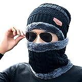 Vandot Conjunto de Sombrero de Punto Bufanda y Gorro de Invierno para Hombres y Mujeres, 2 piezas, Negro