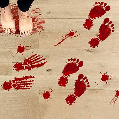 dekoration Scary Blutige Fußabdrücke Boden Aufkleber ()