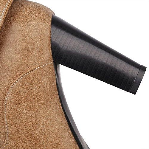 VogueZone009 Damen Blend-Materialien Schließen Zehe Niedrig-Spitze Stiefel Braun-Wasserdicht Plattform