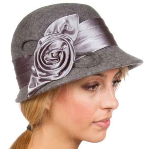 Sakkas Femmes Vintage Style 100% Laine Cloche Bucket le chapeau d'hiver avec Satin Accent Fleur (6 couleurs) Gris