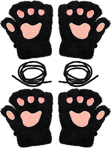Katzenpfoten Kostüm - Syhood 2 Paar Katzenpfote Handschuhe Weich Winter Fingerless Mitten Handschuhe Halloween Cosplay Kostüm Kunstpelz Plüsch Handschuhe Pfote Fingerlos Winter Plüsch Handschuhe für Mädchen Frauen