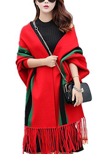 Poncho Cape Epais À rayures avec Franges Manteau Chaud avec Manches Élégant Beunique Rouge