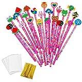 JZK 24 x Rosa Schule HB Stifte Set Bleistifte mit Radiergummi von Tiere Blumen Sonne Schmetterling etc für Geburtstag Mitgebsel Geschenk Kinder Party Gastgeschenk