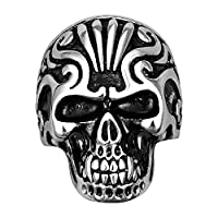 Lureme® Punk Biker Style Stainless Steel Silver Black Open Skull Mouth Band Ring for Boys and Men (04001089-parent) (9)