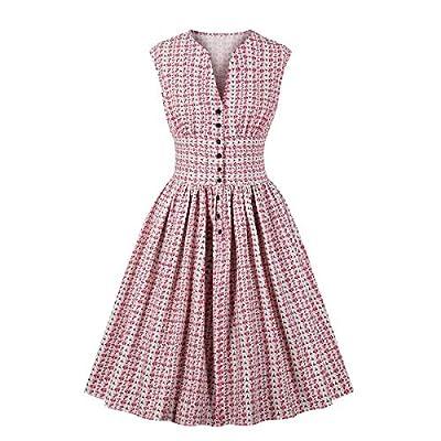 Wellwits Women's Split Neck Floral Button 1940s Day 1950s Vintage Tea Dress