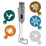 KitchenPro DELUXE Batidora de Leche en acero inoxidable con soporte. Viene con 5 utensilios GRATIS para decorar. Espumador de leche