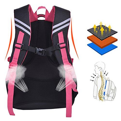 Schulrucksack Maedchen,COOFIT Mädchen Schulrucksack Rucksäcke Schulranzen Schultasche Tasche Travel Sport Outdoor Rucksack für Schüler (Coofit Design Rose) - 3