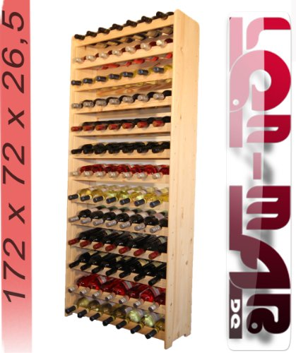 Lenmar Weinregal Weinregal Holz Flaschenregal für 91 Flaschen Massiv-91