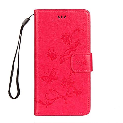 KM-WEN® Schutzhülle für Apple iPhone X (5,8 Zoll) Bookstyle Lotus Blumen Muster Prägung Ledertasche mit Strap Magnetverschluss PU Leder Wallet Case Flip Cover Hülle Tasche Schutzhülle mit Standfunktio Rose