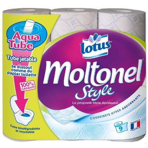 Lotus Moltonel Style - Papier Hygiénique Aquatube x 9 Rouleaux - Lot de 2