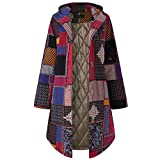 Winterjacke Damen Dasongff Fleece Baumwollmantel Parka Open Front Cardigan Vintage Wintermantel Warm Taschenmantel Retro Ethno Bedruckt Oberbekleidung