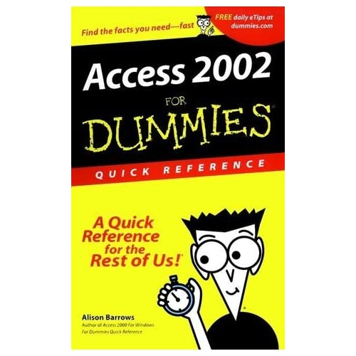 Access 2002 For Dummies Quick Reference by Alison Barrows (2001-06-15)