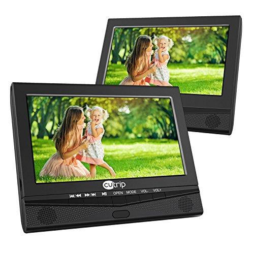 2 10,1 Zoll Auto Monitor DVD Player Tragbarer TV System mit Bildschirm Fernbedienung KFZ unterstützt USB SD für Kinder zu Urlaub Camping Zuhause Schwarz