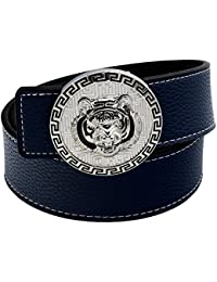 QHA Mens Designer Stitched Leather Tiger Belt Buckle Luxury Casual Waist  Gift 5c2c8939ae6