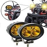 Faretti LED Moto,Biqing 20W LED Moto Fuoristrada Lampada da Lavoro Faretti Moto Supplementari Luce Ausiliaria per Moto Camion Trattori SUV ATV Barca 12V/24V Giallo